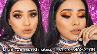 getlinkyoutube.com-Bright 70's Inspired Makeup | Vlogmas 2016
