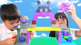 getlinkyoutube.com-アンパンマン おもちゃ おおきなバイキン城とだだんだんブロックバケツ Anpanman  Baikinman block Toy