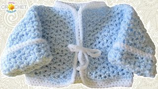 getlinkyoutube.com-Newborn Baby Cardigan Crochet Pattern - V-Stitch Sweater Tutorial