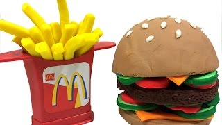 getlinkyoutube.com-Play-Doh Learn Colors How To Make Happy Meal Hamburger & Fries Fun & Creative For Children