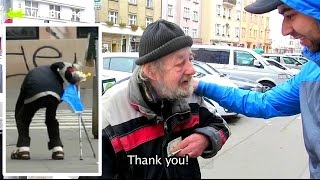 getlinkyoutube.com-Homeless Gets $1000 For His Honesty (Wallet Theft Experiment)