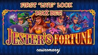 "getlinkyoutube.com-JESTER'S FORTUNE SLOT - First ""LIVE"" Look - MAX BET! - NEW GAME - Slot Machine Bonus"