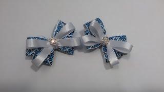 getlinkyoutube.com-Kanzashi. bow of satin ribbon. barrette /Канзаши. бантик из атласной  ленты . Заколка