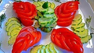 getlinkyoutube.com-Карвинг из огурца и помидора. Цветы и лепестки. Как красиво оформить закуску