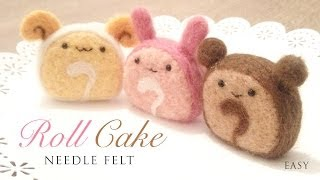 getlinkyoutube.com-Kawaii Roll Cake - DIY Needle Felt Mascots