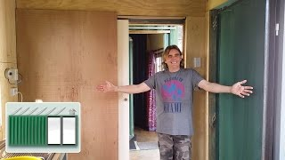 getlinkyoutube.com-Shipping Container House – Installing a sliding cavity pocket door in a shipping container