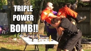 getlinkyoutube.com-TRIPLE POWERBOMB THROUGH A TABLE! Epic Backyard Wrestling ACTION!