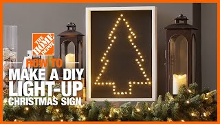 A video details how to make a DIY light-up Christmas tree sign.