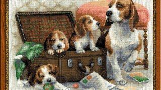 """getlinkyoutube.com-Вышивка крестом: Подготовка к """"Собачье Семейство"""" от Риолис"""