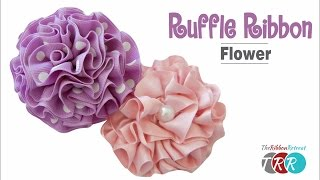 How to Make a Ruffle Ribbon Flower - TheRibbonRetreat.com