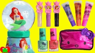 getlinkyoutube.com-Disney Princess Ariel Bubble Bath Glitter Globe Nail Polish and Lip Balms