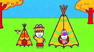 getlinkyoutube.com-Didou dessine moi un Tipi, un Chateau fort et une Maison | Apprendre à dessiner pour les enfants