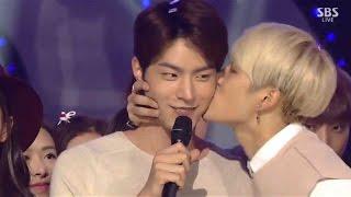 getlinkyoutube.com-Jackson Wang GOT7 kiss Hong Jong-hyun and dance with SNSD, B1A4