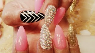getlinkyoutube.com-ELEGANT STILETTO ACRYLIC NAILS GEL COLOR DESIGN TUTORIAL