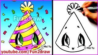 getlinkyoutube.com-Easy Things to Draw - New Years Party Hat + Mei Yu's New Year's Resolutions
