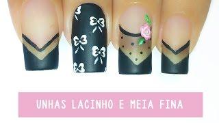 getlinkyoutube.com-Unhas Decoradas Meia Fina com Bolinhas e Lacinho - black sheer