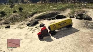 GTA 5 CRAZY TRAILER TRUCK TERROR BEACH VS COPS POLICE CARS EXPLOSION