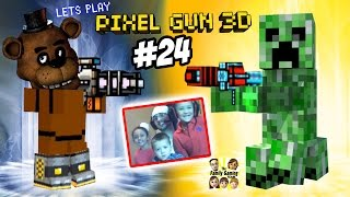 Creeper vs. Freddy Fazbear! Dad & Kids play Pixel Gun 3D Co-Op Survival (Face Cam Part 24)