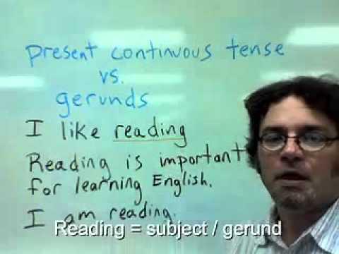 present continuous tense vs gerunds