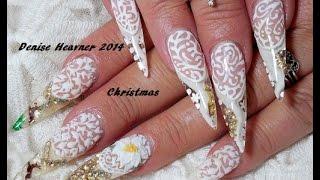 getlinkyoutube.com-:** SNOW GLOBE NAILS ** STILETTO GEL nails ** NEW Wintery Christmas Design 1.....