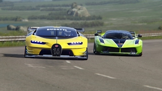 getlinkyoutube.com-Battle Bugatti Vision GT vs Ferrari FXX-K Racing at Highlands Long