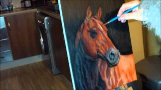 getlinkyoutube.com-Fast drawing - American Quarter Horse in oil on canvas