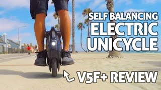 getlinkyoutube.com-V5F+ Electric Unicycle! REVIEW - Self Balancing 'One Wheel Hoverboard'