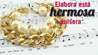Como hacer una pulsera cadena perla cream Kit 23185