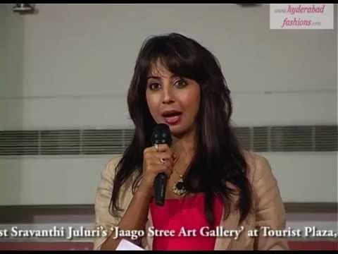 Actress Sanjana Speech in Artist Sravanthi Juluri's 'Jaago Stree Art Gallery'
