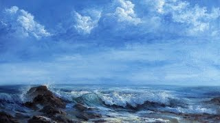 getlinkyoutube.com-Storm Clouds & Crashing Wave | Oil Painting