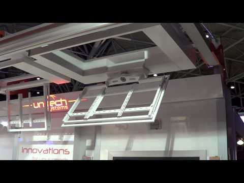 Unitech Systems FPLCV2SLIM+R flat tv ceiling lift with rotation at ISE 2013-2