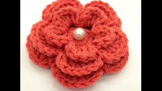getlinkyoutube.com-كورشيه وردة بعدة طبقات Crochet flower tutorial