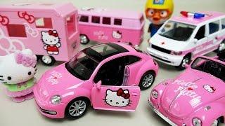 getlinkyoutube.com-Hello Kitty Car toys 헬로키티 미니카 와 뽀로로 타요 폴리 장난감