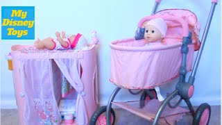 getlinkyoutube.com-Cute Baby Doll playset  Diaper change and doll stroller Play Toys with My Disney Toys