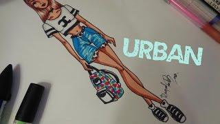 getlinkyoutube.com-Desenho de Moda - Look Urbano - Shorts Jeans