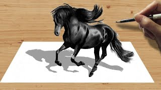 getlinkyoutube.com-3D Pencil Drawing: Black Friesian Horse  - Speed Draw | Jasmina Susak