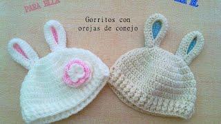 getlinkyoutube.com-DIY Patron Gorro crochet ganchillo con orejas de conejo para bebe (2 de 2)
