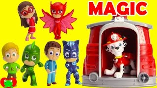 getlinkyoutube.com-PJ Masks Save the Day With Paw Patrol Marshall Magical Pup House