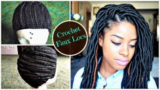 "getlinkyoutube.com-How to Install ""Natural Looking"" Crochet Faux Locs on Braided Cap 