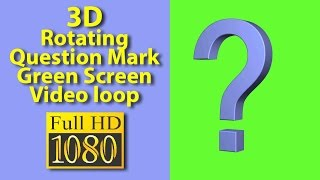 Rotating 3D Question Mark Stock Footage Green Screen  Royality Free