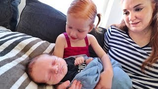 Adley meets Baby Brother!!  (so adorable)