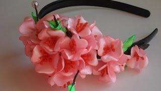 getlinkyoutube.com-Японская Сакура ободок Канзаши D.I.Y. Japanese Sakura rim kanzashi