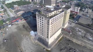 getlinkyoutube.com-Park Avenue Hotel Implosion - Detroit, MI - Filmed by DJI Phantom 2 Drone - Demolition