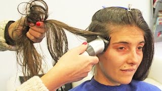 getlinkyoutube.com-Hair clipper running her long hair to shave both sides of her head