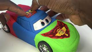getlinkyoutube.com-DIY Kinetic Sand Cars 3 Lightning McQueen PJ Masks Colors Kinetic Sand Disney Pixar Cars 3 Movie