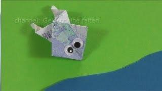getlinkyoutube.com-Geldscheine falten Frosch für Geldgeschenke