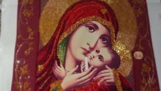 """getlinkyoutube.com-Вышивка бисером """"вприкреп""""на проволоке:Касперовская икона Богородицы. Работа, плюсы и минусы."""