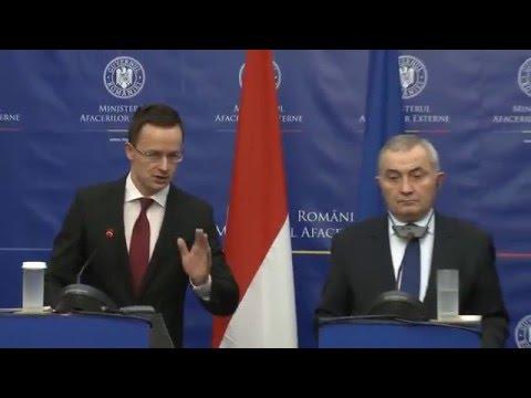 Declaraţii comune de presă ale ministrul român al afacerilor externe, Lazăr Comănescu, cu omologul ungar, Péter Szijjártó