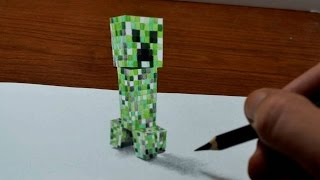 getlinkyoutube.com-Drawing Minecraft Creeper - 3D Trick Art - Time Lapse