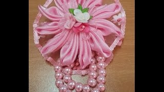 getlinkyoutube.com-jewelry 4: to make flower brooch like a star sea pin using satin #DIY @azhira